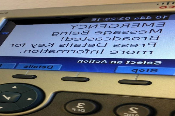 应急管理: Image of message that will appear on Kent State phones during an emergency broadcast.