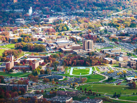 Aerial view of Kent State University