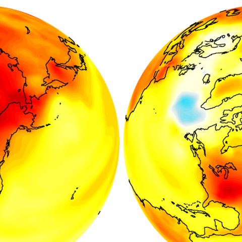 An image of the globe over North America, showing increased warm weaTH.er in a yellow-to-red scale