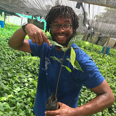 Christopher Thompson holding a cocoa seedling.
